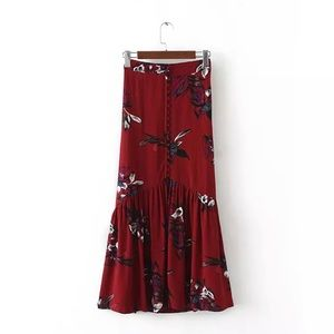 RED BOHO FLORAL BUTTON DOWN MAXI SKIRT
